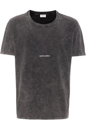 Saint Laurent Logo-print distressed-effect T-shirt