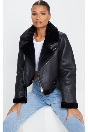 PRETTYLITTLETHING PU Cropped Belted Aviator