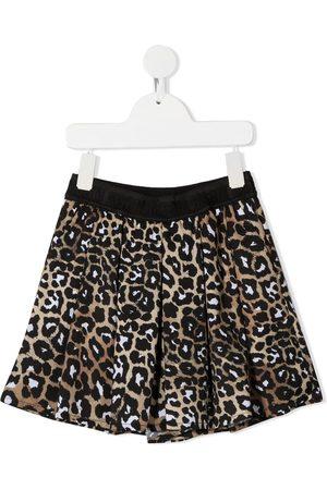 Msgm Girls Shorts - Leopard-print pleated shorts