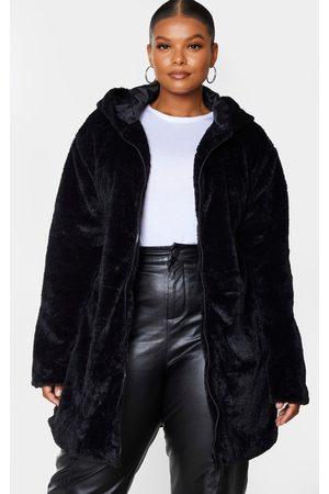 PRETTYLITTLETHING Plus Hooded Faux Fur Midi Coat