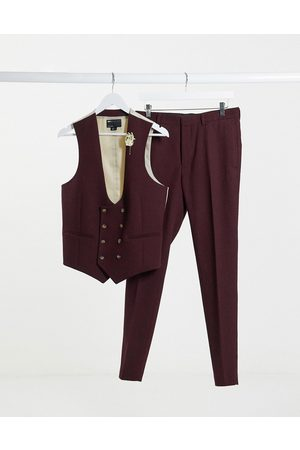 ASOS Wedding super skinny wool mix suit waistcoat in burgundy twill-Red