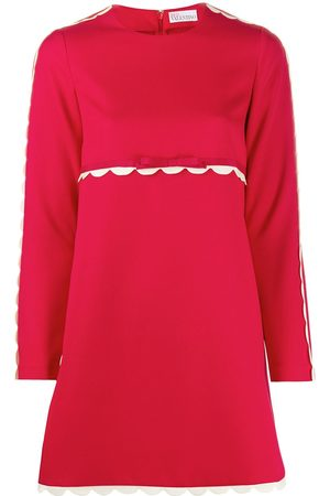 RED Valentino Scallop-trim long-sleeve dress