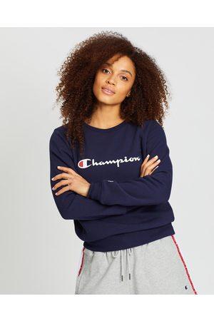 Champion Script Crew Sweater - Crew Necks (Navy) Script Crew Sweater