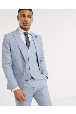 Gianni Feraud Wedding linen slim fit suit jacket-Blue