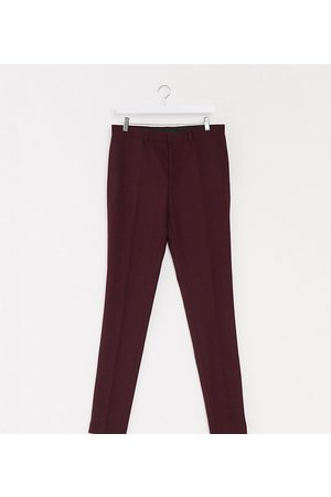 ASOS Tall wedding super skinny wool mix suit pants in burgundy-Red