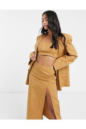 ASOS 3 piece dad suit blazer in camel pinstripe-Multi