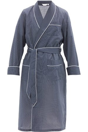 DEREK ROSE Plaza Polka-dot Cotton Robe - Mens - Navy