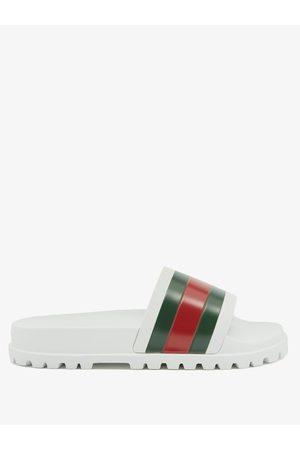 Gucci Web-striped Rubber Slides - Mens - Multi