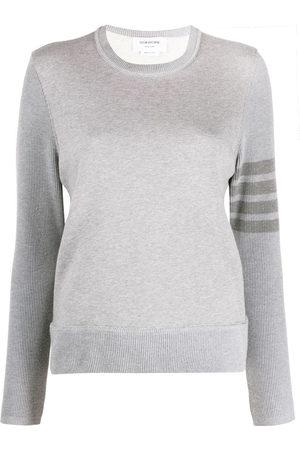 Thom Browne Women Sweatshirts - Crew neck sweatshirt in classic loopback with 4-bar