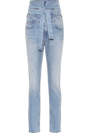 The Attico High-rise slim paperbag jeans