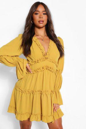 boohoo Women Maxi Dresses - Ruffle Trim Drape Sleeve Skater Dress- Mustard