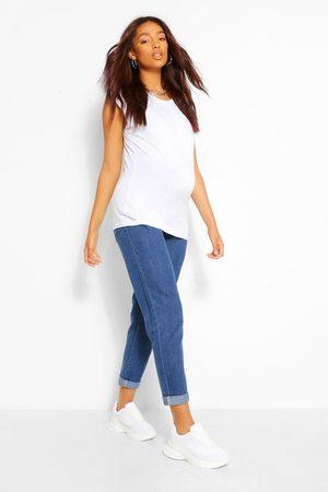 Boohoo Maternity Roll Hem Over The Bump Boyfriend Jeans- Mid