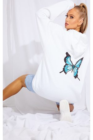 PRETTYLITTLETHING Butterfly Back Printed Hoodie