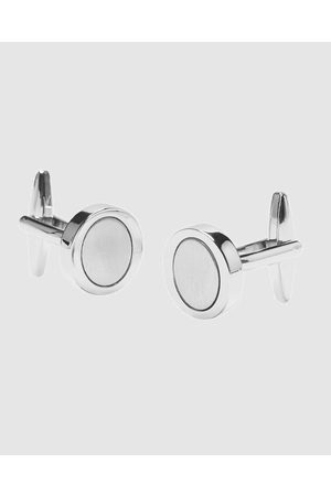 Buckle Round Brushed Nickel Cufflinks - Ties & Cufflinks Round Brushed Nickel Cufflinks