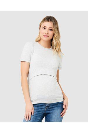 Ripe Maternity Organic Nursing Tee - Tops ( Marle) Organic Nursing Tee