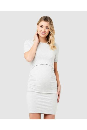 Ripe Maternity Organic Nursing Dress - Bodycon Dresses (BlackSilver Marle) Organic Nursing Dress