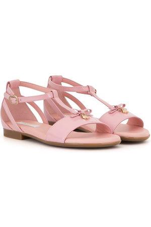 Dolce & Gabbana T-bar bow-charm sandals