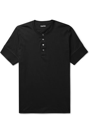 Tom Ford Men Short Sleeve - Slim-Fit Cotton-Jersey Henley T-Shirt