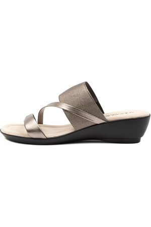 SUPERSOFT Paralee Su Gunmetal Sandals Womens Shoes Casual Heeled Sandals