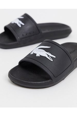 Lacoste Thongs - Croco logo slides in black and white