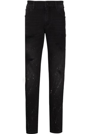 Dolce & Gabbana Men Straight - Splatter-paint straight-leg jeans