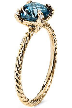 David Yurman Châtelaine' diamond topaz 18k yellow gold ring