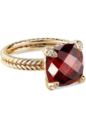 David Yurman Châtelaine' diamond garnet 18k yellow gold ring