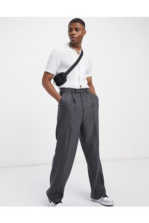 ASOS High-waist wool-mix smart pants with wide leg in charcoal-Grey