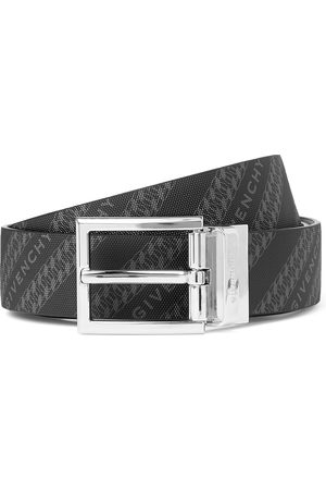 Givenchy 3cm Reversible Logo-Print Canvas and Leather Belt
