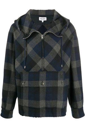 Kenzo Men Hoodies - Checked zip-up hoodie
