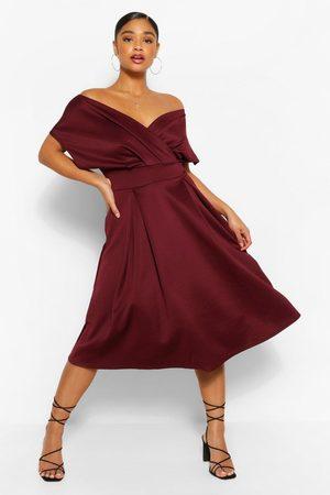 Boohoo Plus Off The Shoulder Wrap Midi Dress- Berry