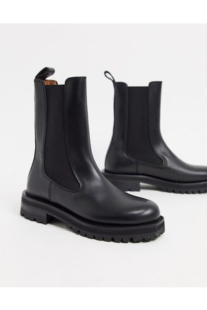 & OTHER STORIES Women Knee High Boots - & leather tall chunky flat boots in black
