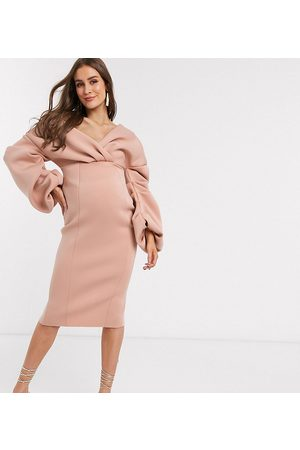 ASOS ASOS DESIGN Maternity fallen shoulder pleated puff sleeve pencil midi dress in rose-Pink