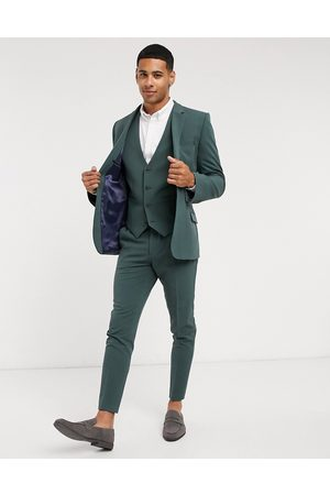 ASOS Super skinny suit waistcoat in forest green