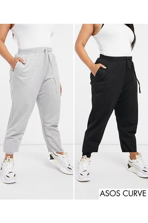 ASOS ASOS DESIGN Curve basic jogger with tie 2 pack SAVE-Black