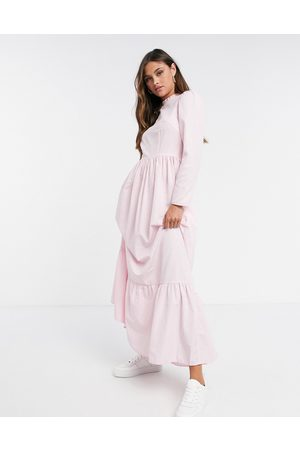 ASOS Women Maxi Dresses - Cotton poplin tiered maxi dress in light pink