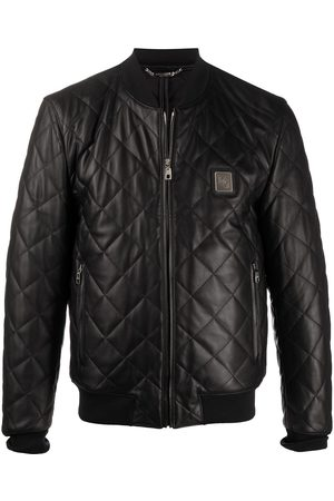 Dolce & Gabbana Men Winter Jackets - Quilted leather jacket with logo plaque