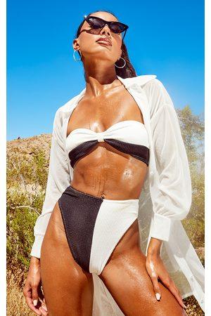 PRETTYLITTLETHING Monochrome Two Tone Crinkle Bow Bandeau Bikini Top