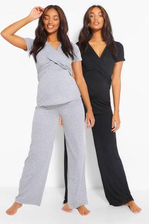 Boohoo Maternity 2Pk Wrap Nursing Pj Trouser Set