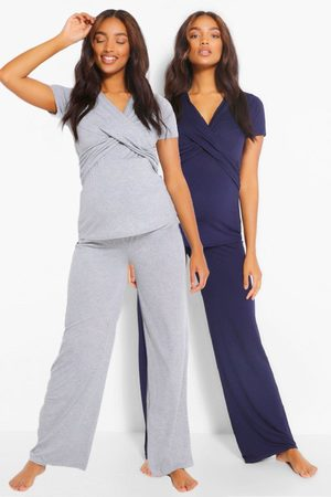 Boohoo Maternity 2Pk Wrap Nursing Pj Trouser Set- Navy