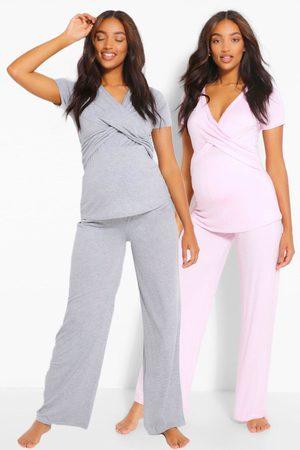 Boohoo Maternity 2Pk Wrap Nursing Pj Trouser Set- Pale