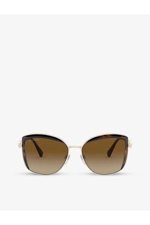 Bvlgari BV6128B Serpenti embellished square-frame metal and acetate sunglasses