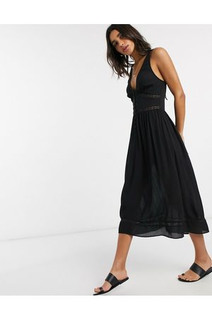ASOS Tiered midi sundress with lace inserts in black