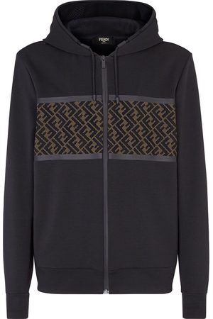 Fendi Men Hoodies - FF panel zipped hoodie