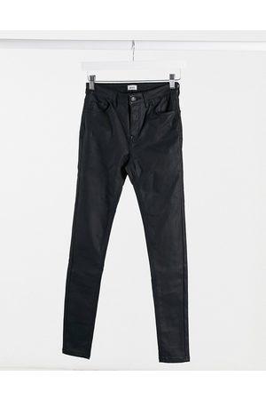 Pimkie Coated skinny jeans in black