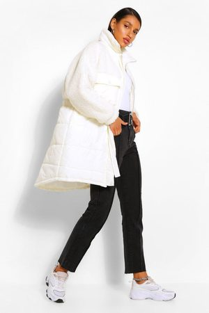 Boohoo Teddy Faux Fur Mix Longline Belted Puffer Jacket- Cream