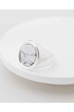 Chained & Able Marble Stone Signet Ring - Jewellery Marble Stone Signet Ring
