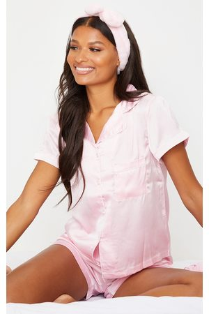 PRETTYLITTLETHING With Piping Detail Satin Pocket PJ Shorts Set