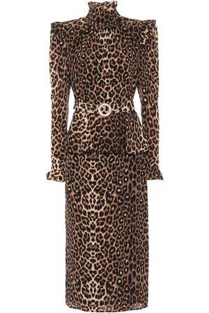Alessandra Rich Leopard-print silk midi dress
