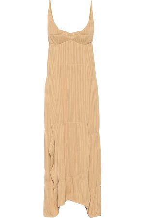 Jil Sander Plissé georgette maxi dress